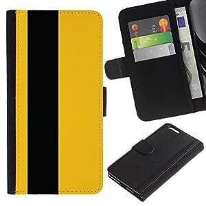 EuroTech - Apple Iphone 6 PLUS 5.5 - Yellow Black Stripe Minimalist Vertical - Cuero PU Delgado caso Billetera cubierta Shell Armor Funda Case Cover Wallet Credit Card