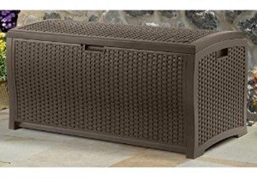 Wicker Resin Deck Box, 99-Gallon Indoor Outdoor Storage Suncast DBW9200 Mocha --P#EWT43 65234R3FA99164