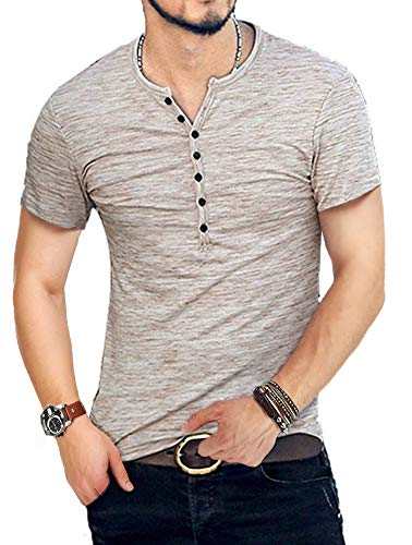 KUYIGO Mens Casual Slim Fit Basic Henley Long/Short Sleeve Fashion Summer T-Shirt