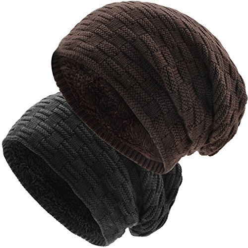 UPhitnis Warm Winter Hats For Women Men - Slouch Beanie Knit Hat - Thick, Long, Soft Beanie With Weave (Knit Skull Cap Pattern)