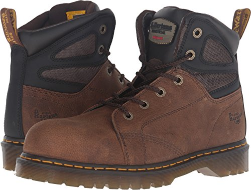 Martens Unisex Safety Boots - Dr. Martens Unisex Fairleigh Steel Toe 6 Eye Boots, Brown Leather, 9 M UK, M10/W11 M US