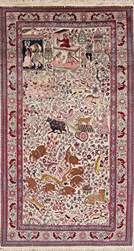 (Rug Source One-of-A-Kind Agra Animal Print Pictorial Hand-Knotted 4x8 Beige Wool Vintage Oriental Area Rug (7'9