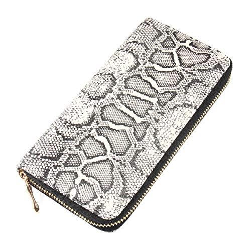 (Animal Print Zip Around Wallet - Pattern Zipper Clutch Purse Card & Phone Slots Elephant, Flamingo,Butterfly, Leopard, Zebra (Python))