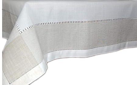 7af0d09d5354 Classic Linen Blend Tablecloth Hemstitch Natural Off-White Grey Ecru Table  Runner – Cushion