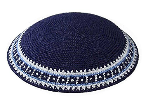 Zion Judaica Knit Quality Kippot for Affairs or Everyday Use Single or Bulk Orders - Optional Custom Imprinting Inside for Any Event (1PC, Classic Blue Supreme Quality)