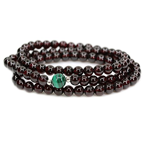 Amandastone Gemstone 5.5MM AAAAA Grade Wine Red Garnet with 8MM Natural Brand Malachite with 925 Sterling Silver Round Beads Bracelet/Necklace - Malachite Necklace Onyx