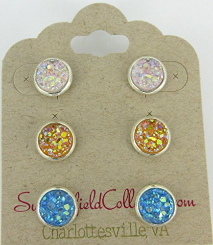 [Trio Silver-Tone Stud Earrings 8mm Orangey Yellow AB Blue Pale Pink Faux Druzy Stone] (Matching Costumes For Mom And Baby)
