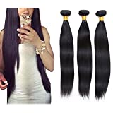 Worldflying@ 8-28 inches 100% Virgin Brazilian Natural Straight Human Hair Weave Extension Unprocessed 1 pack Bundle Black