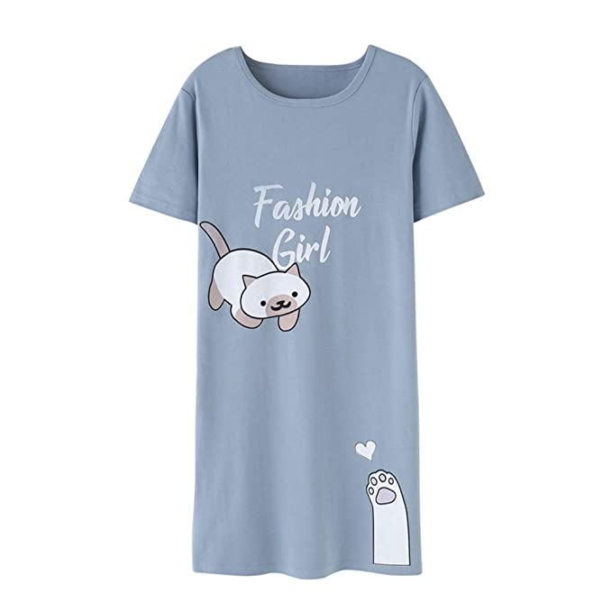 Hupohoi Big Girls Short Sleeve Nightgown Lovely Cats Lazy Day Printed Sleep Dress PJS