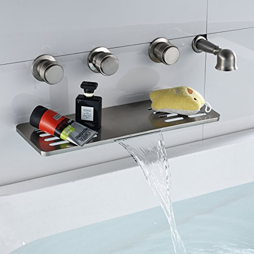 Rozin Brushed Nicke Waterfall Spout with Shelf Function Tub Faucet Handheld Shower (Wall Mounted Diverter Valve)
