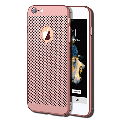 iPhone 6S Plus Case, iPhone 6 Plus Case, GOTITENI Stylish Ultra Slim Lightweight Case, Fingerprint Resistant Heat Losing Breathable Holes Snug Fit Cover for Apple iPhone 6 / 6S Plus, Rose Gold
