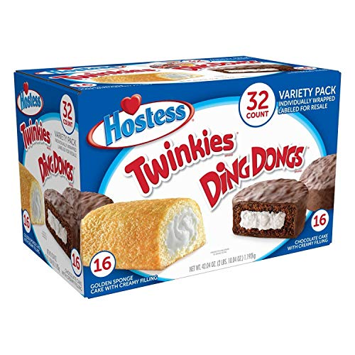 Hostess Twinkies & Ding Dongs (16 Twinkies & 16 Ding Dongs), Individually Wrapped, 32 Total - SET OF 4