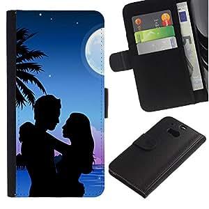 Paccase / Billetera de Cuero Caso del tirón Titular de la tarjeta Carcasa Funda para - Couple Love Romance Beach Moon Palm Tree - HTC One M8