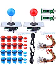For Raspberry Pi 3 2 model B Retropie, Longruner LED Arcade DIY Parts 2x Zero Delay USB Encoder + 2x 8 Way Joystick + 20x LED Illuminated Push Buttons for Mame Jamma Arcade Project Red + Blue Kits