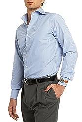 Sebastian Ward Men's Trim Fit Poplin Dress Shirt - Blue Stripe - 15