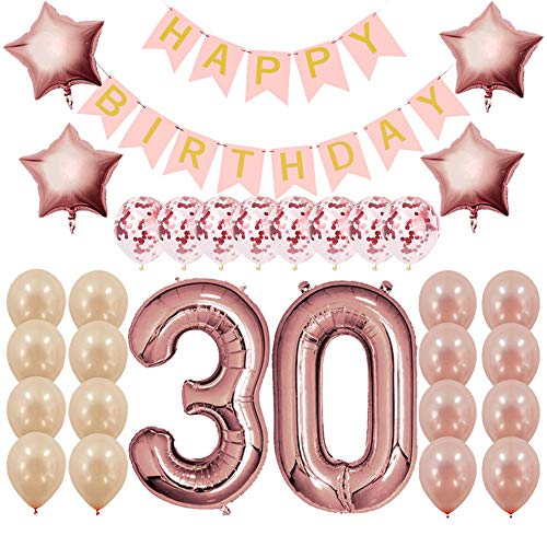 day Decorations Party Supplies Gifts for Women (Her), Dirty 30 Birthday Supply, Number 30 Foil Balloons,Birthday Banner,Confetti & Latex Balloons ()