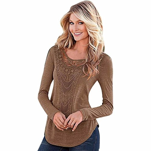 Review Women's T-Shirt,Laimeng Slub Cotton Loose Long Sleeve Tops Blouse Shirt Casual Hollow Crochet...