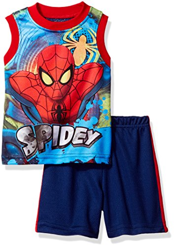 Marvel Toddler Boys' Spiderman Short Set with Tank T-Shirt, Navy, 3T (T Shirt Spiderman)