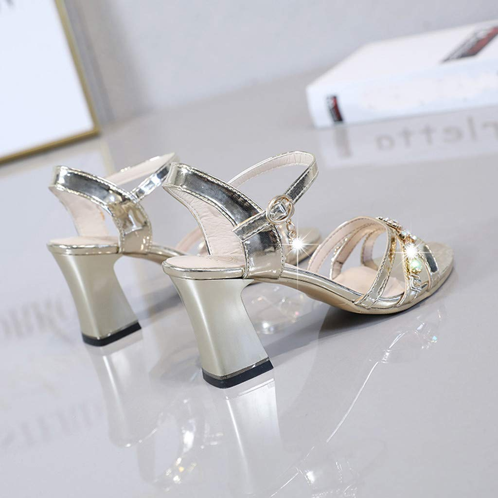 Women Sandals,Ladies Women Summer High Heeled Sandals Wide Width Shoes Girls Crystal Causal Peep Toe Shoes