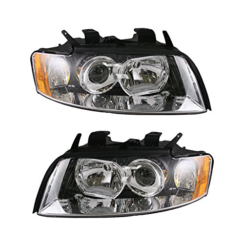 Headlights Headlamps Left & Right Pair Set for 02-05 Audi A4