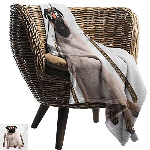 EwaskyOnline Pug Flannel Blanket Ninja Puppy with Nunchuk Karate Dog Eastern Warrior Inspired Costume Pug Image Sofa Warm Bed 51