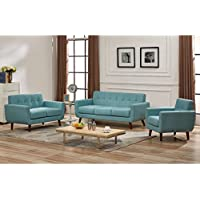 US Pride Furniture Grace Mid-Century Tufted Upholstered Rainbeau Living Room Sofa, Loveseat, and Chair 3-piece Set Eton Blue