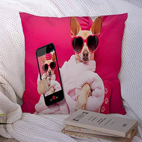 Staromay-Decorative-Polyester-Throw-Pillow-Cushion-Covers-Body-Digital-Meditate-Cozy-Photography-Chihuahua-Dog-Relaxing-Pet-Spa-Wellness-Center-Jack-Fitness-Case-for-Living-Room-Home-Decor-18x18-Inch