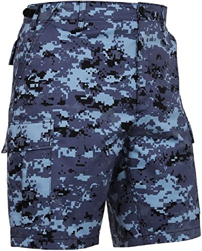 Bellawjace Clothing Sky Blue Digital Camouflage Military BDU Combat Cargo Camo Army Shorts