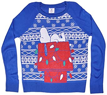 Peanuts Snoopy Christmas Sweater Blue at Amazon Women's Clothing ...