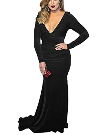 DreHouse Womens V-Neck Velvet Long Sleeve Mermaid Prom Dresses Evening Gowns 2018
