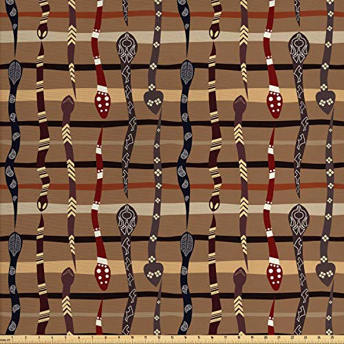 (Ambesonne Tribal Fabric by The Yard, Native American Wildlife Primitive Funky Snakes Traditional Oriental Arrangement, Decorative Fabric for Upholstery and Home Accents, 1 Yard, Multicolor)