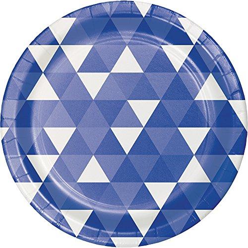 Creative Converting 319961 96 Count Dinner/Large Paper Plates, Fractal Cobalt