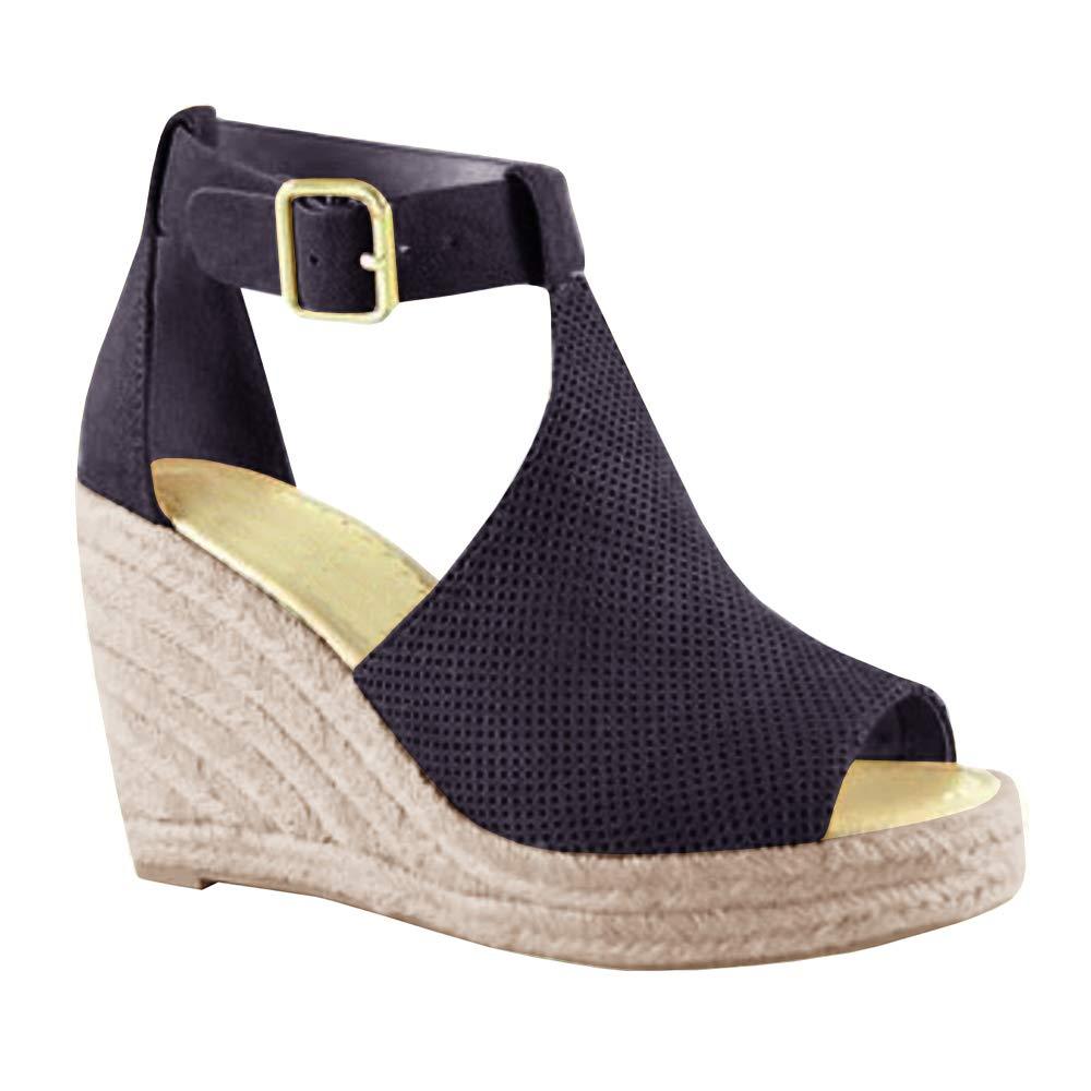 Syktkmx Womens Platform Wedge Sandals Suede Peep-Toe Strap Buckle Mid Heel Espadrille Shoes