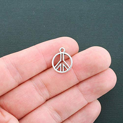 Great Selection 12 Peace Sign Charms Antique Silver Tone 2 Sided - SC4297 Build Your Designs