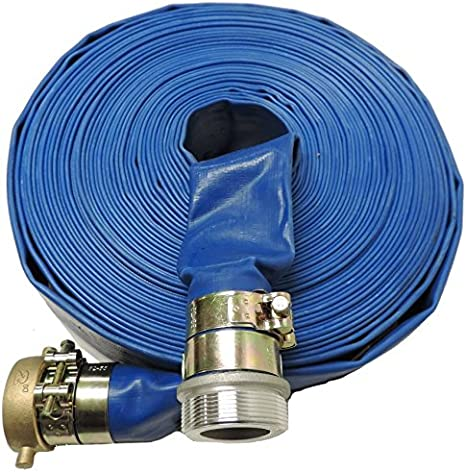 HydroMaxx 2 Diameter x 100 Foot Heavy Duty PVC Lay Flat Water Discharge Hose with Pin Lug Connector by MaxxFlex Aluminum//Brass