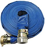 HydroMaxx (3'' Dia. x 100 ft) Heavy Duty PVC Lay Flat Water Discharge Hose with Pin Lug Connector by MaxxFlex