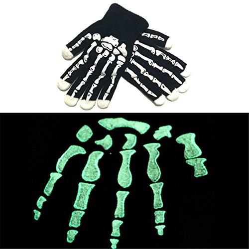 LED Skull Bone Skeleton Motocycle Cycling Riding Goth Racing Full Finger Gloves for Halloween Costume Props (Halloween Broomstick Treat Bags)
