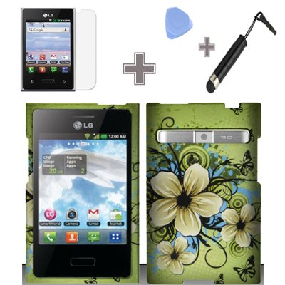 Rubberized Green Hawaiian Flower Snap on Design Case Hard Case Skin Cover Faceplate with Screen Protector, Case Opener and Stylus Pen for LG Optimus Logic L35g / LG Dynamic L38c - StraightTalk / Net 10 ()