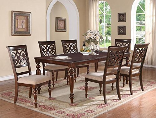 Brand New 7-pc Aurora Dining Table (with 18'' Leaf) and 6 Dining Side Chairs Set