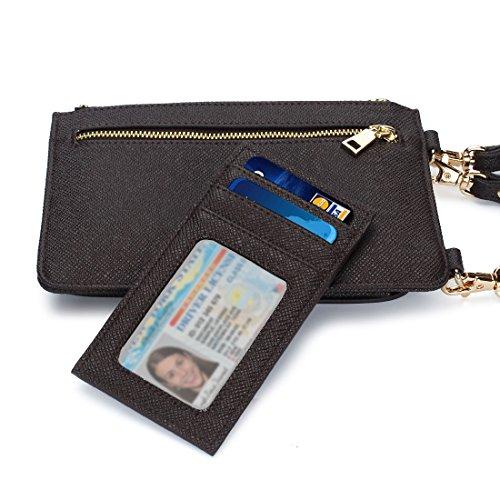 Sac IPhone monnaie PU DOMISO Bandoulière Seule Pochette 7 pour épaule à Cuir Sac Porte Marron en 6 6s Téléphone à de AWdd6qa