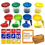 Cre8tivePick Spill Proof Paint Cups in 4 Colors Plus Matching Color Brush, Palm Grasp Brushes, Drawing Stencil For Kids, Sponge Rollers, Paint Tray Palette, Drawing Kit + eBook Guide