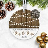 """First Christmas as Mr & Mrs Ornament 2018, Personalized Rustic 1st Married Christmas Ornament, Newlyweds Wedding Gift - 3"""" Flat Ceramic Ornament - Gold & Silver Ribbon + Free Gift Box"""