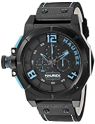 Haurex Italy Mens 6N510UBB Space Chrono Analog Display Quartz Black Watch