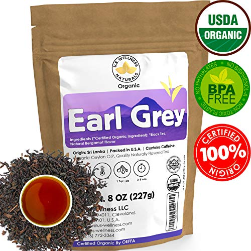 Earl Grey Tea, FLORAL & CITRUSY, Natural Bergamot Flavor Blended with ORGANIC Loose Leaf Tea, 110+ Cups, 8oz, ORGANIC CEYLON, OP Grade Tea, U.S.A Processed & Quality Control (Lavender Leaf Earl Grey Loose)
