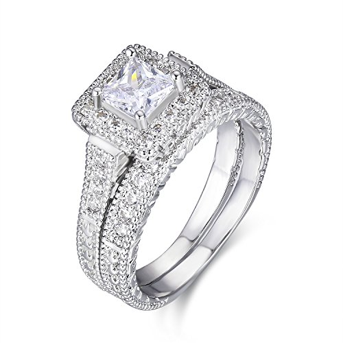 LAVUMO Exquisite Women Wedding Engagement Bridal Set Rings Princess Cut Cubic Zirconia Her Band - Princess Brass Ring