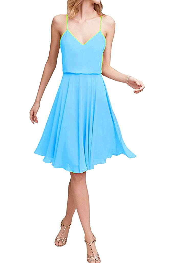 ThaliaDress Womens Chiffon Short Spaghetti Straps V Neck Bridesmaid Dresses T047LF