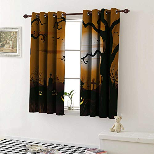 shenglv Halloween Customized Curtains Leafless Creepy Tree with Twiggy Branches at Night in Cemetery Graphic Drawing Curtains for Kitchen Windows W63 x L45 Inch Brown Tan ()