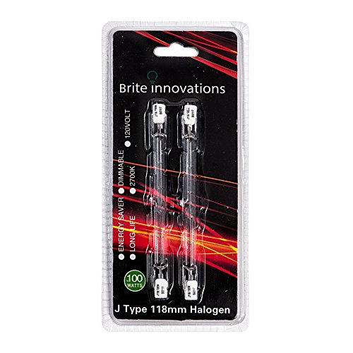 Double Ended J Type Halogen Bulbs - 118mm, 100 Watts, 120 Volts, 2700K Warm White Light – Dimmable, Energy Saver, Long Life – 2 Pack – by Brite Innovations