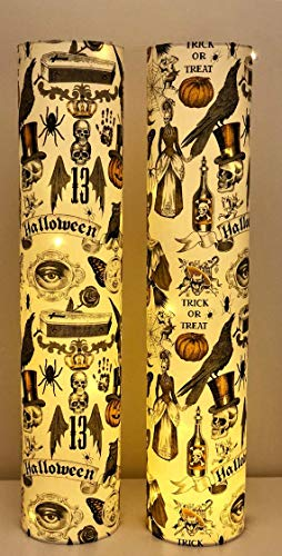 Set of Two Halloween Luminary Lights with Vintage-Inspired Print -