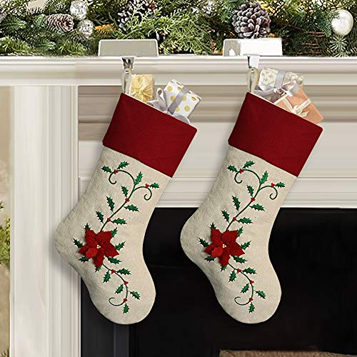 Ivenf Christmas Stockings, 2 Pcs 18 inches Large Embroidered Holly Leaves Poinsettia Stockings, for Family Holiday Xmas Party Decorations, Red or Green ()